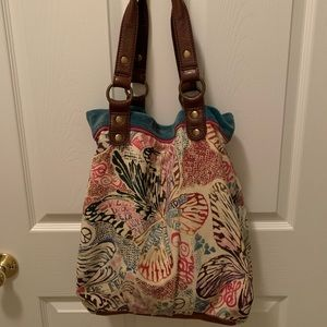 *LOVE* Lucky Brand Hobo Tote Canvas/Leather/Suede